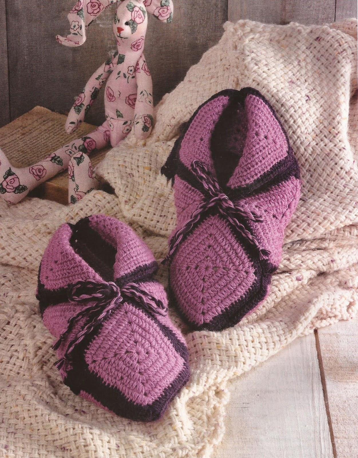 Zapatos a Crochet - Babuchas Moradas
