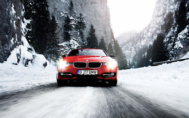 Red BMW in Winter