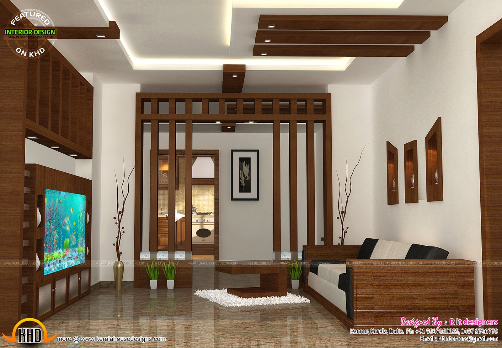 Wooden finish interiors kerala home design and floor plans for Small hall interior design photos india