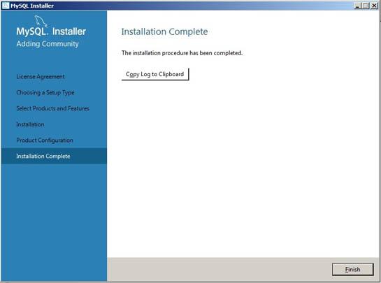 mysql installation complete
