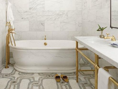 Carrado di Byaze  39 s Apartment via Abigail Ahern. The Peak of Tres Chic  Needing  Wanting  Loving  A Brass Bathroom