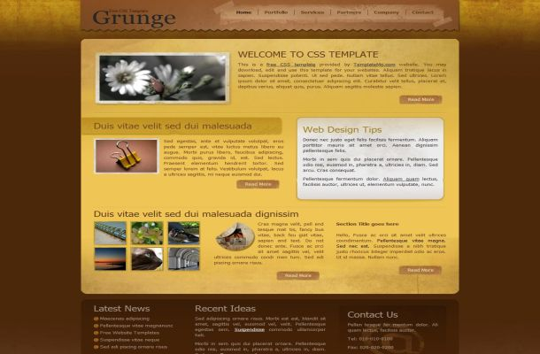 Grunge Yellow Brown CSS HTML Website Template