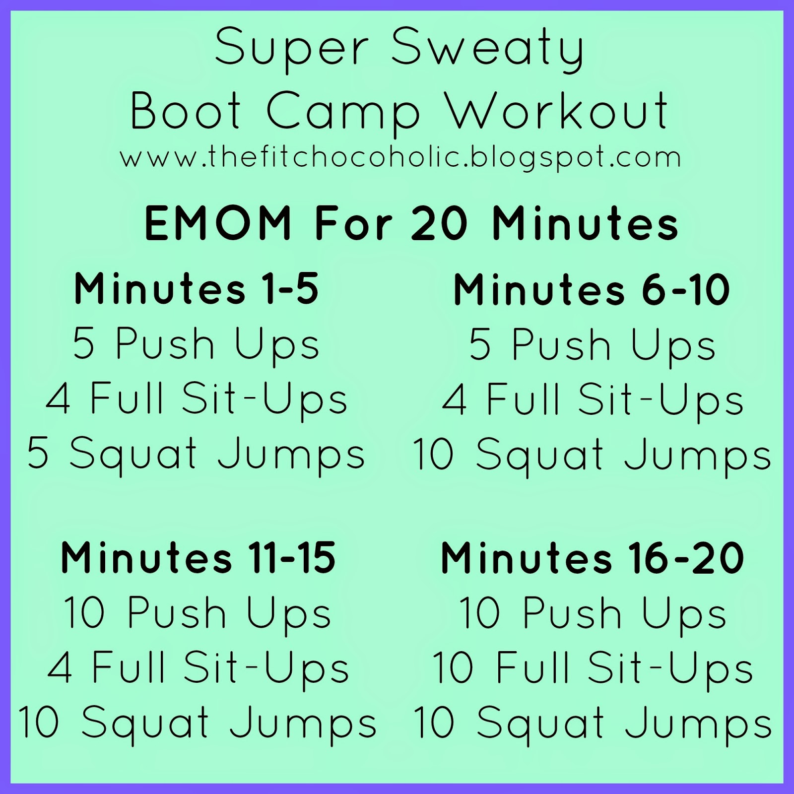 The Fit Chocoholic: Super Sweaty Boot Camp Workout