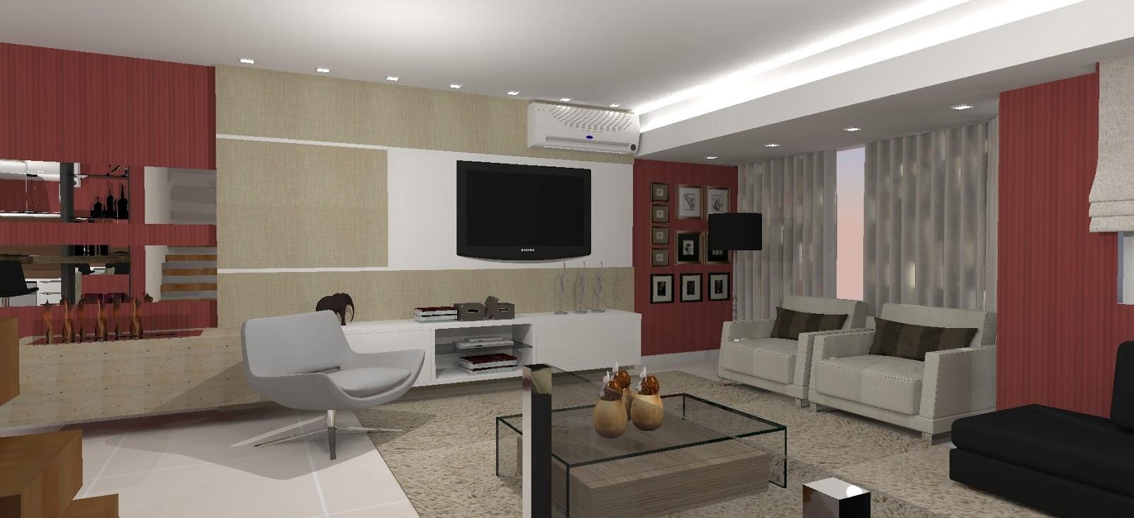 Sala De Jantar E Sala De Tv ~  Arquitetas Associadas Sala de TV, sala de jantar e cozinha integradas