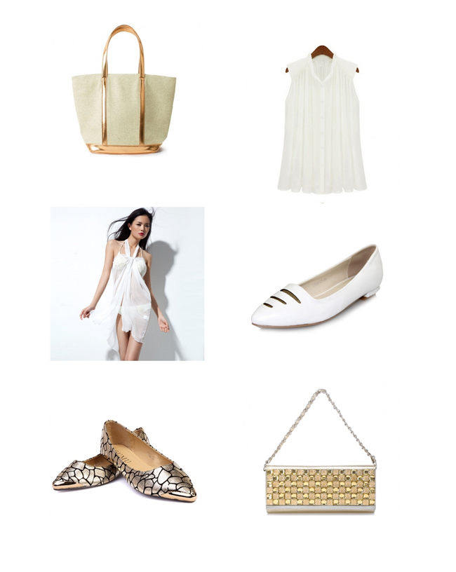 white gold flats bag beach cover up