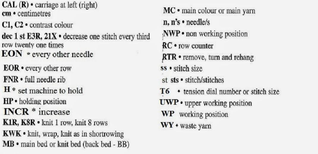 Knitting Abbreviations : Marzipanknits: Machine Knitting Abbreviations
