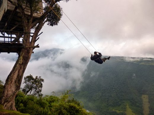 The swing at the End of the World in Baños, Ecuador