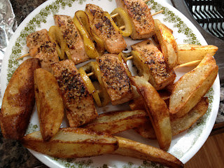 salmon kebobs with roasted potato wedges