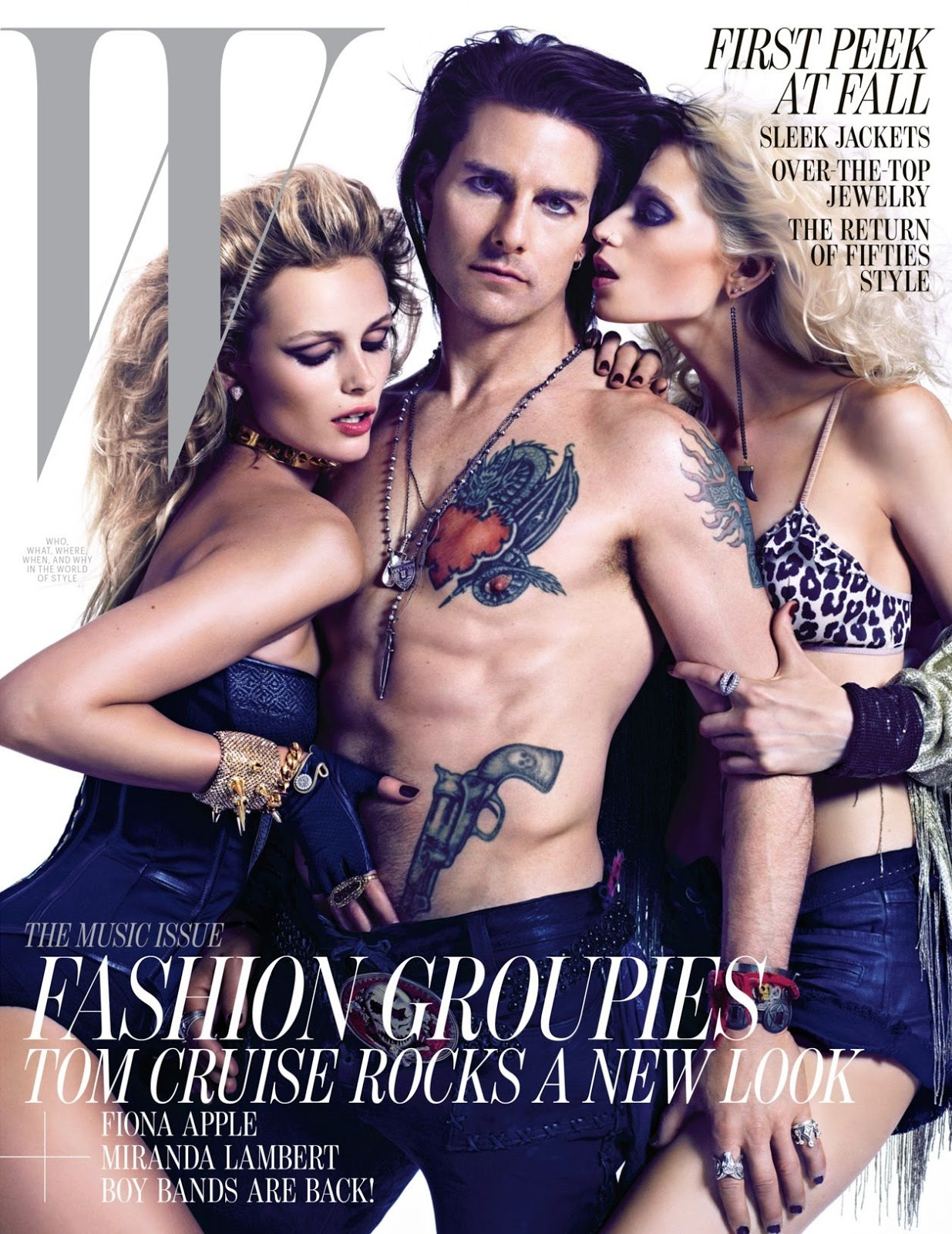 W June 2012: Tom Cruise, Edita Vilkeviciute & Abbey Lee Kershaw by Mario Sorrenti