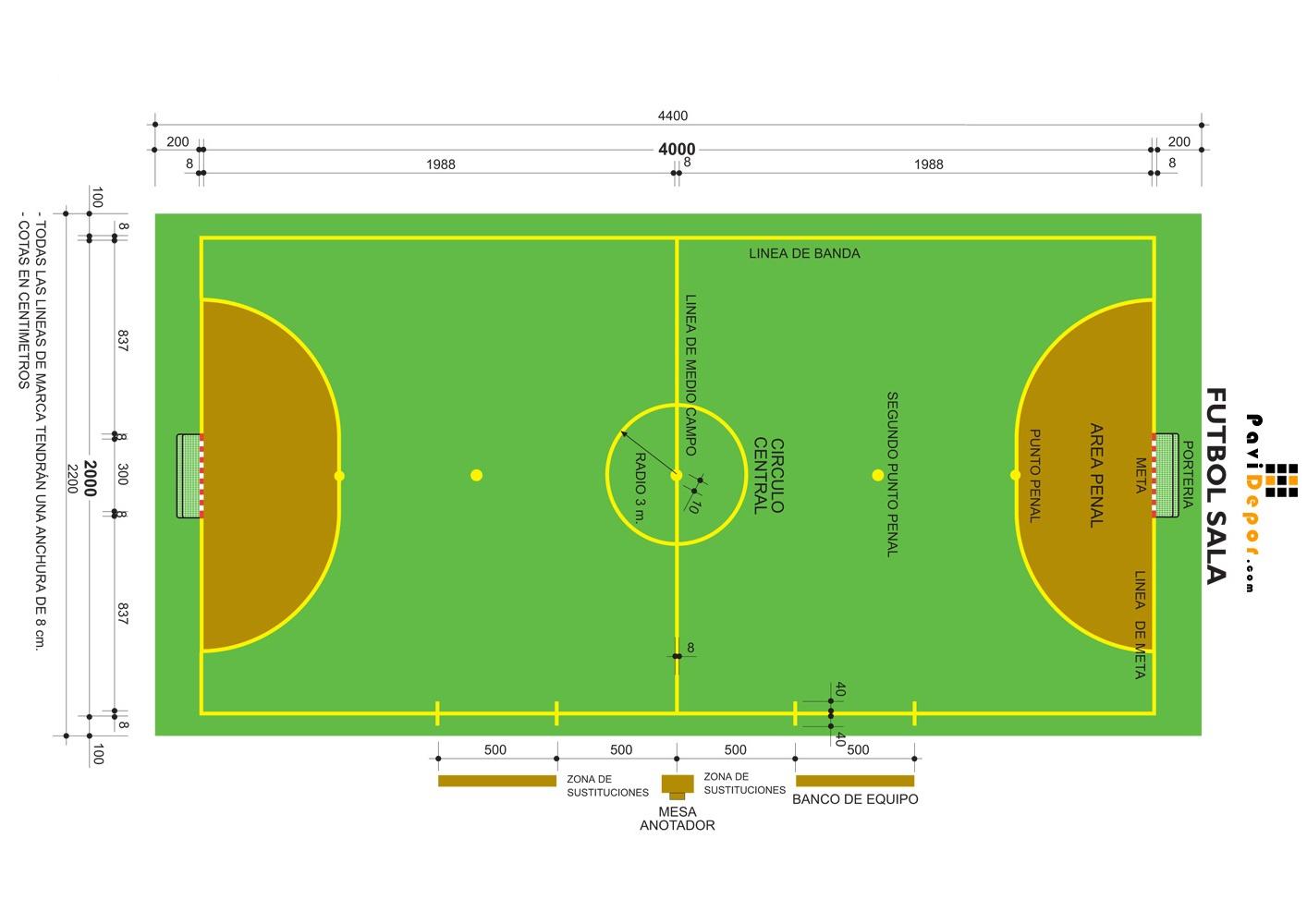 campo de juego del futbol de salon | tenis de mesa