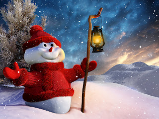3D Snowman with Lantern HD Wallpaper
