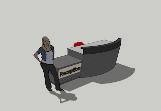 Reception desk with shadow and human scale