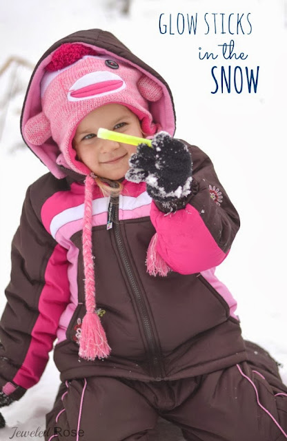 Kids love glow sticks.  Kids love snow.  You know what is ultimate fun?  Glow sticks in the snow!