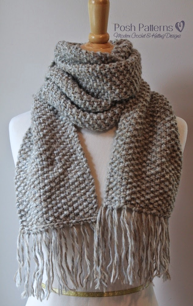 Moss Stitch Scarf Knitting Pattern : Posh Patterns Easy Crochet Patterns and Knitting Patterns: Free Knitting Patt...