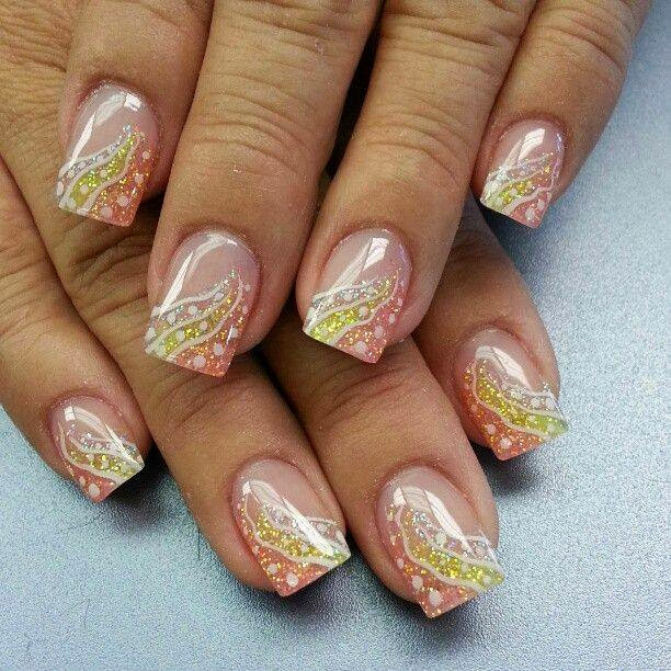 Gel-Nails-and-simple-spin-on-it-with-a-little-color-and-some-simple-nail-art-chevron-mixed-color-swirls-Classic-French-pink-white-Nails-Polish-LED-Polish-LED-Nails-Acrylic-Nails-Nail-Art