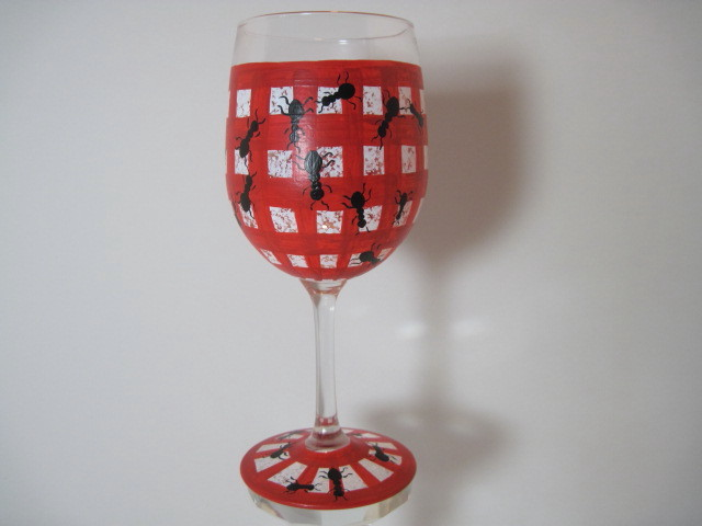 Picnic Ants Painted Wine Glass