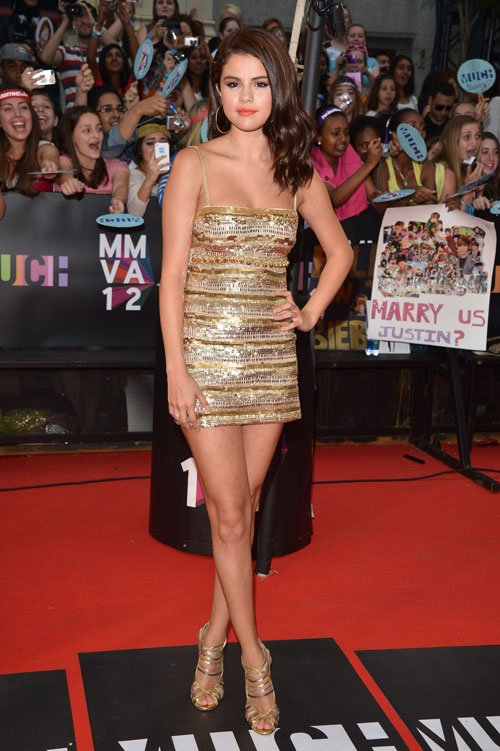 Steal Their Style Selena Gomez in Gold Cavalli
