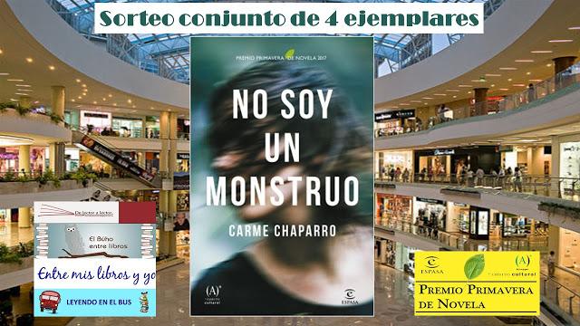 """Sorteo conjunto de """"No soy un monstruo"""" de Carme Chaparro"""