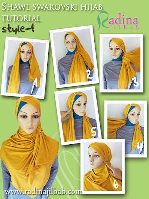 Cara Memakai Hijab Shawl Swarovski