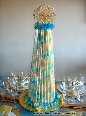 decoracion mesa navidad dorado azul centro mesa arbol papel