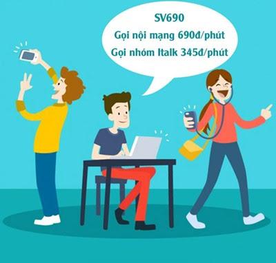 Hòa mạng gói cước SV690 của Viettel gọi nội mạng 690đ/phút