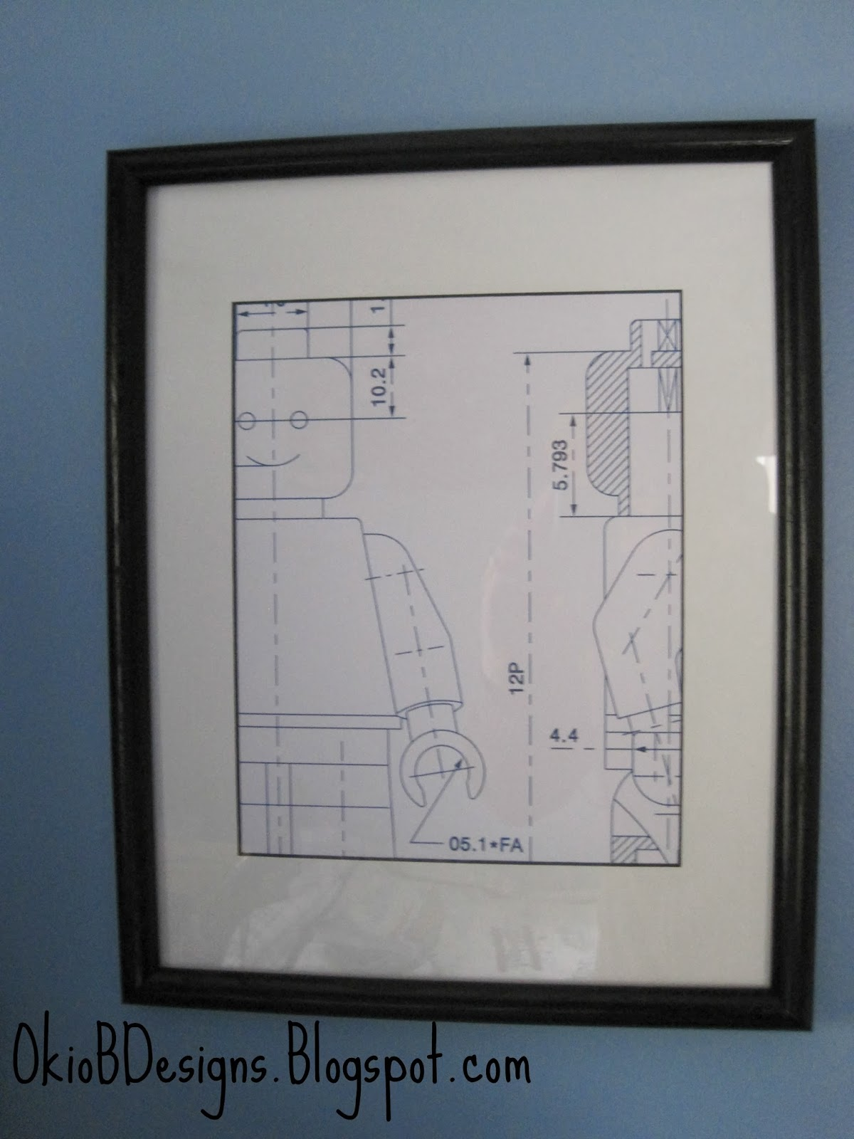 Framed lego blueprint for boys room okio b designs the one that was pinned i believe was from gilt and was 65 ouch my version cost about 4 i picked up the frame from our local church thrift store malvernweather Choice Image
