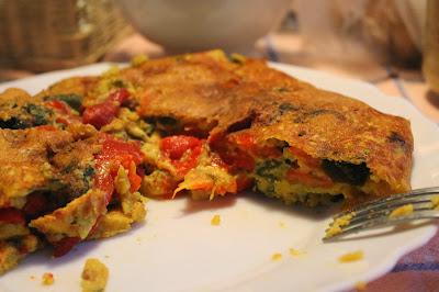 tortilla de pimientos y wakame sin huevo