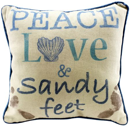 Peace Love Sandy Feet Pillow