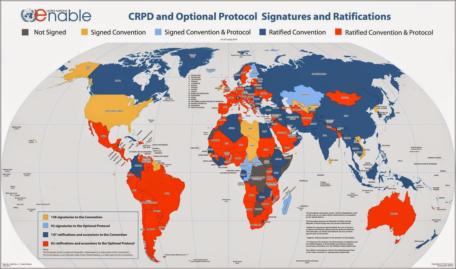 Mapa dos países signatários da Convenção sobre os Direitos das Pessoas Deficientes.