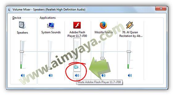 Gambar: Cara Mengecilkan atau mematikan suara Game dari Flash Player