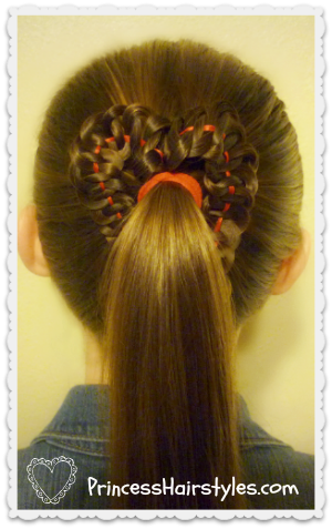 Cute heart ponytail for Valentines day tutorial