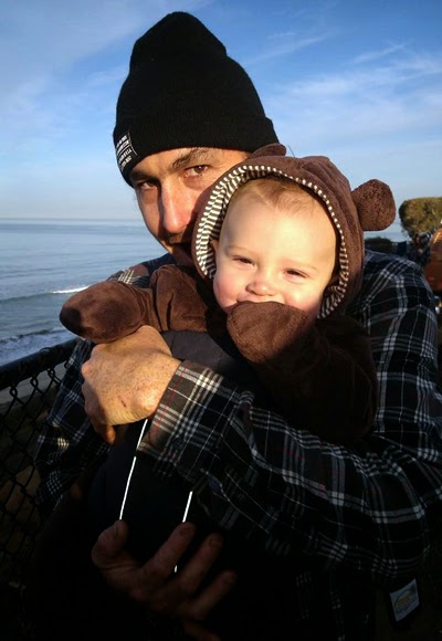 Dad and Reef Indy enjoy their time together at the South Carlsbad State Beach.
