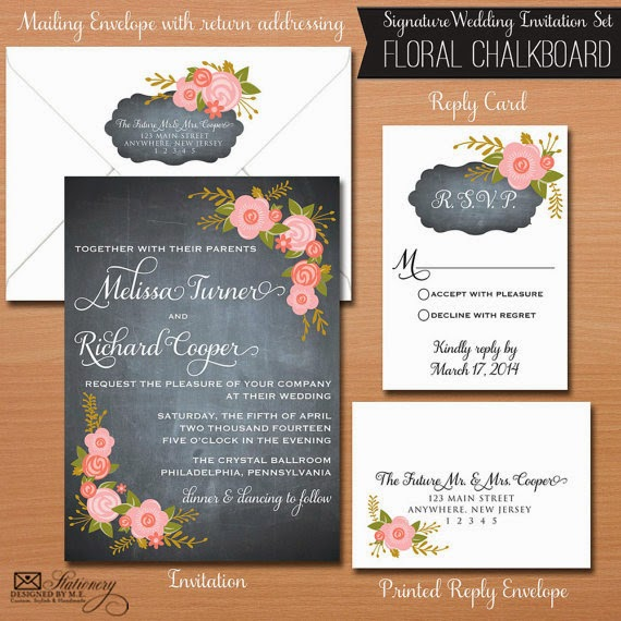 Chalkboard Wedding Invitaton Set by Designed By M.E. Stationery
