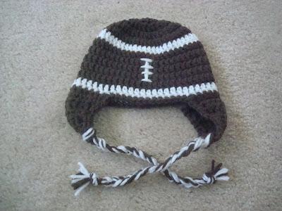 Soft Shells Baby Earflap Hat Crochet Pattern : Crystal Panda: Football Baby Earflap Crochet Hat