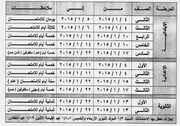 جدول امتحانات ''التيرم الأول'' لمراحل التعليم المختلفة بالسويس 2014