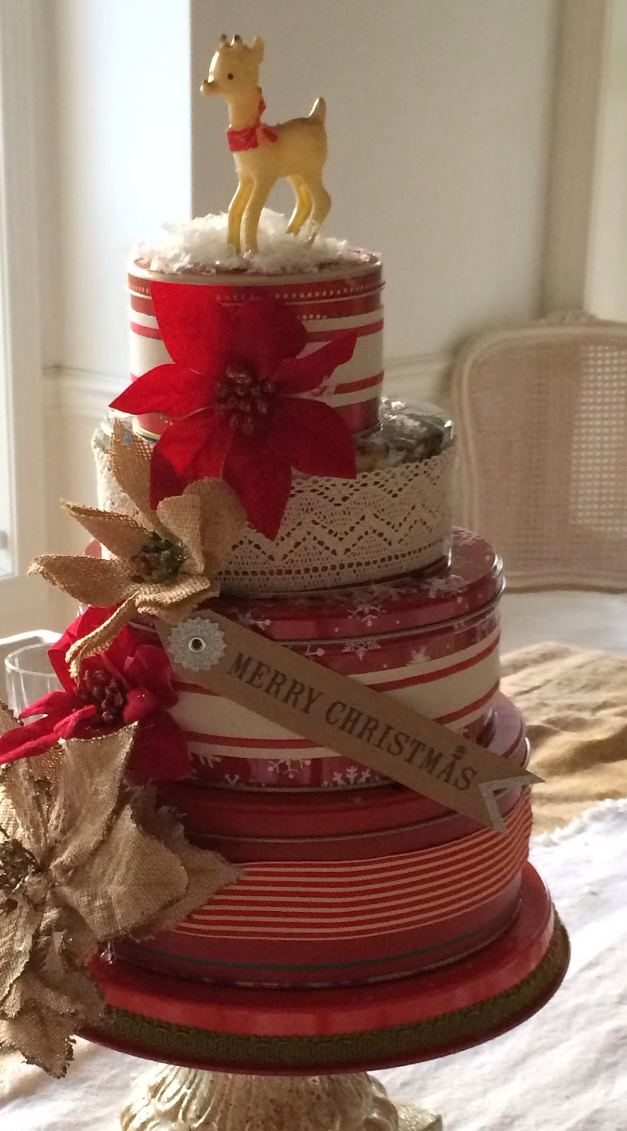 Little farmstead vintage cookie tin cake centerpieces