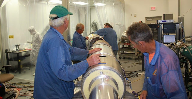 Engineers work on the final steps of integrating the MOSES-2 sounding rocket payload. The rocket, which will launch from White Sands Missile Range in New Mexico August 25, is carrying an instrument called the Multi-Order Solar EUV Spectrograph, or MOSES-2. This instrument will be used to take images of the sun in extreme ultraviolet light on its 15-minute flight into space. Taking these kinds of images is impossible from the ground, since Earth's atmosphere blocks all extreme ultraviolet light. Credits: NASA