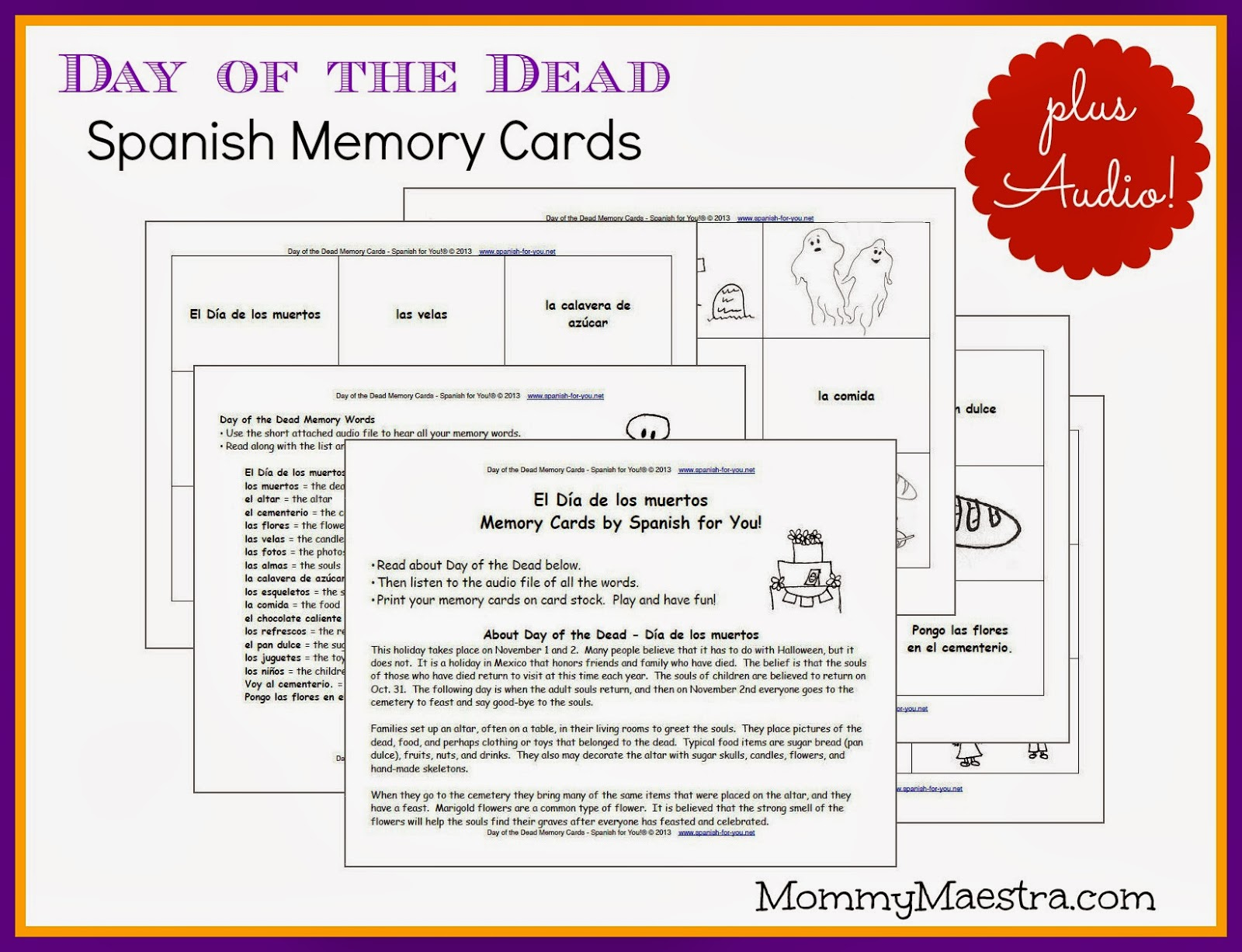 Mommy Maestra Free D a de los Muertos Spanish Vocabulary Cards – Dia De Los Muertos Worksheets