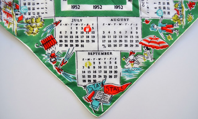 1952 Hankie, detail of July through September