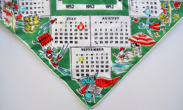 1952 Hankie, detail of July through September