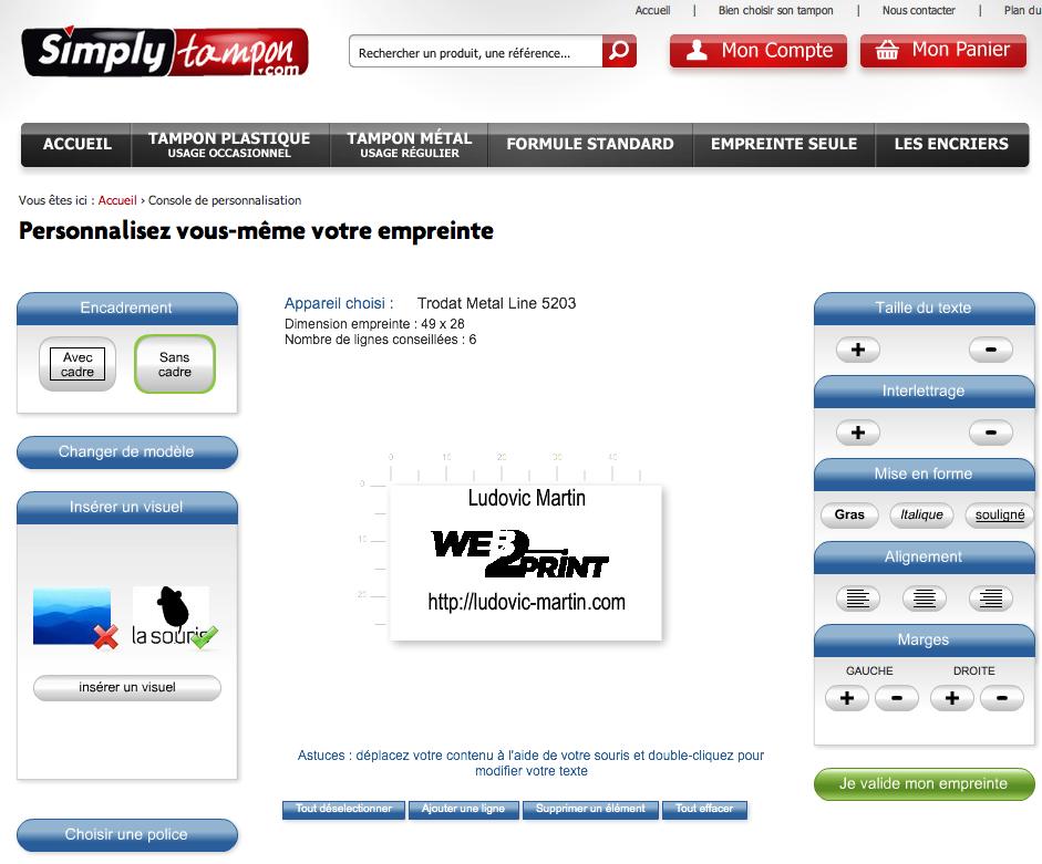 simply tampon innove en proposant du web to print enfin du web to tampon. Black Bedroom Furniture Sets. Home Design Ideas