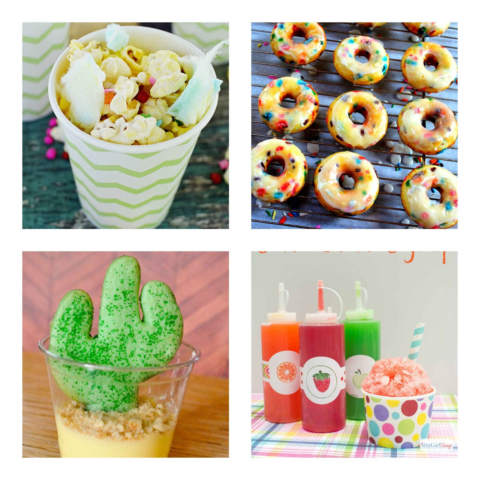 Cotton Candy Popcorn, Confetti Donuts, Cowboy Cactus,  Homemade Sno-Cone Syrup