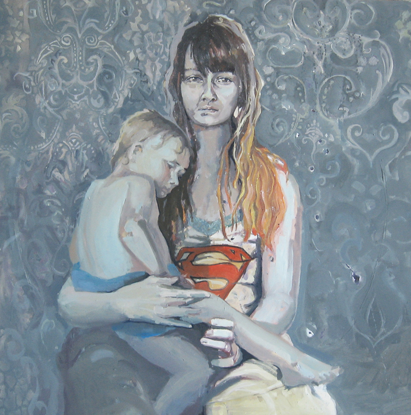 malarstwo olejne tematyka społeczna matka z dzieckiem superwoman Urbaniak metaphory portrety sad tired woman mother with child super my precious painting puppet
