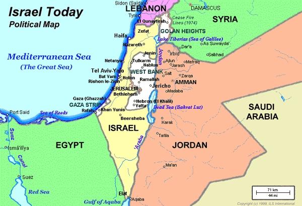 mapa politico de israel actual
