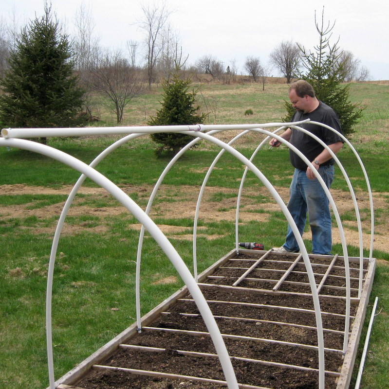 Diary of a fledgling farmer: Mini PVC hoop house for our Square Foot ...