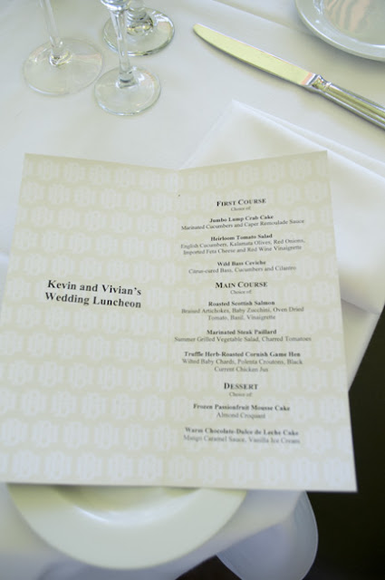 Menu at Central Park Boathouse wedding reception