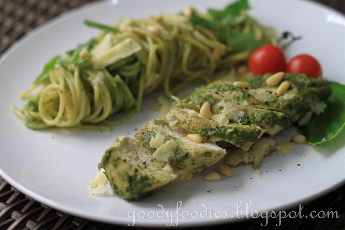 Recipe: Pesto-glazed chicken breast with pesto spaghetti (Curtis Stone ...