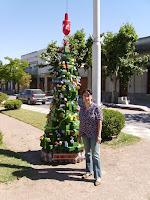 Cecilia Ianni y su árbol de navidad reciclado.