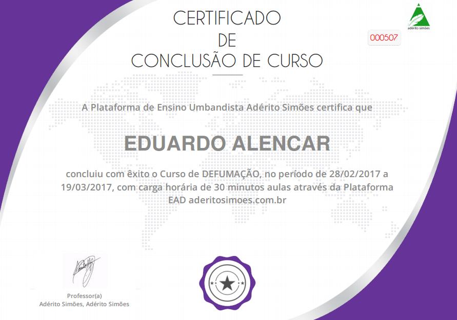 Certificado: Defumações