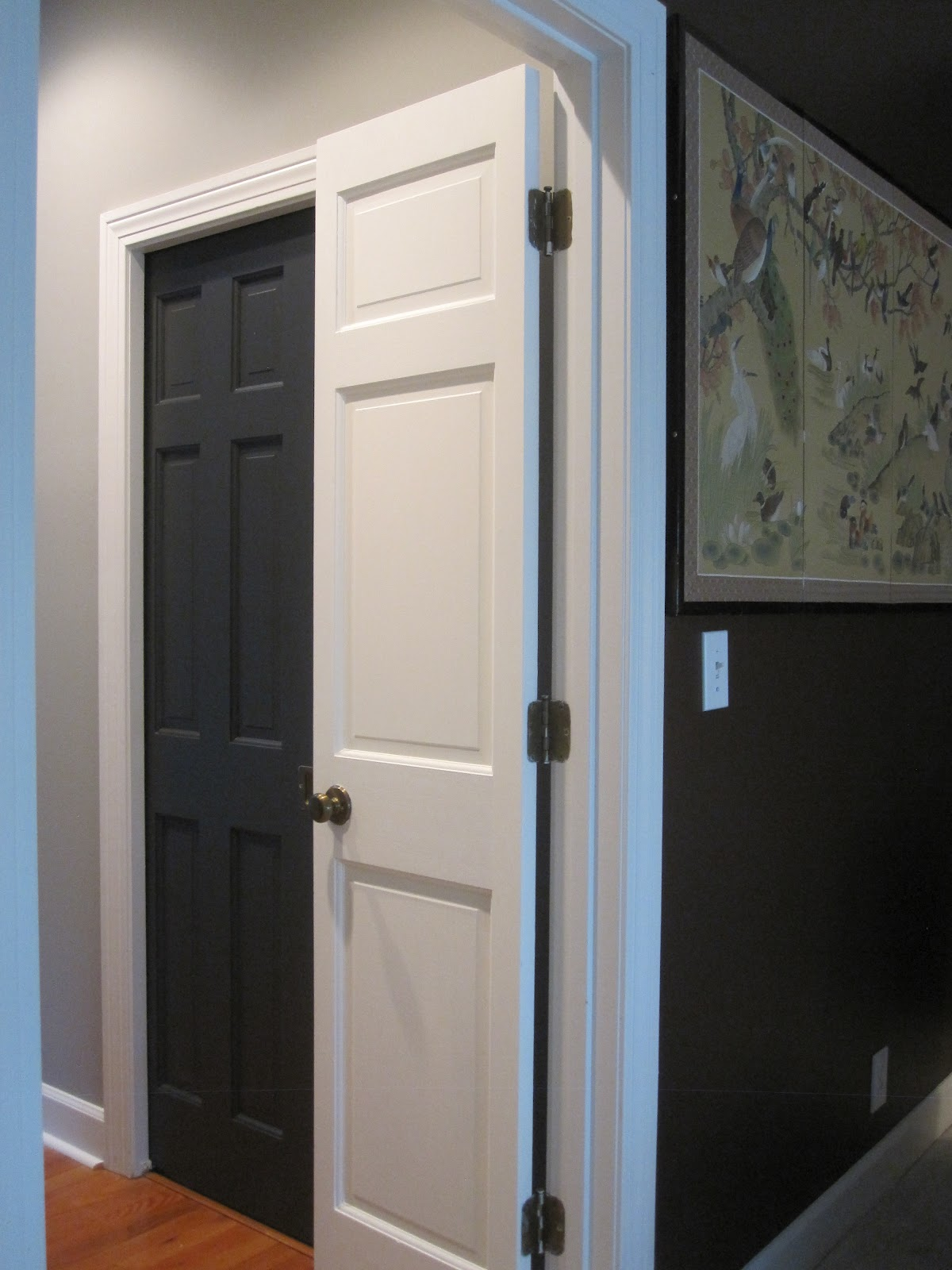 Black doors with white trim - I Love The Contrast Of The Dark Walls In The Bedroom With The Stark White Trim A Peek Into The Bathroom Shows The Gray Walls With Black Doors Love